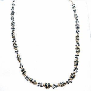 Hematite, 14kt gold filled & ster silv necklace